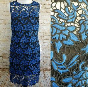 Julia Jordan Blue Black Floral Lace Sheath Dress